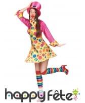 Déguisement robe courte de clown à pois colorés, image 2