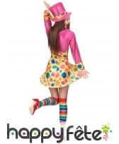 Déguisement robe courte de clown à pois colorés, image 3