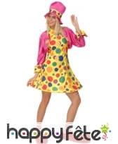 Déguisement robe courte de clown à pois colorés