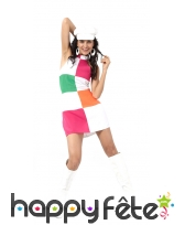 Déguisement robe courte disco damiers colorés