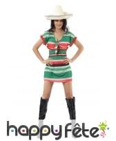 Déguisement robe courte mexicaine multicolore