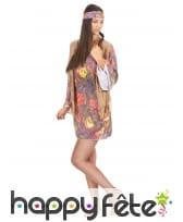 Déguisement robe courte petits motifs hippies, image 1