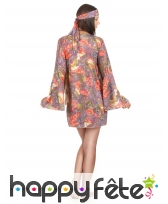 Déguisement robe courte petits motifs hippies, image 2
