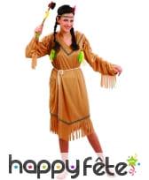 Déguisement robe d'indienne marron pour femme