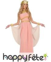 Déguisement robe de déesse grecque rose unie