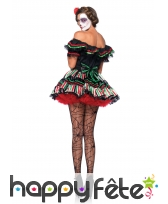 Déguisement robe Dia de los muertos colorée, image 1