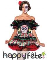 Déguisement robe Dia de los muertos colorée, image 2