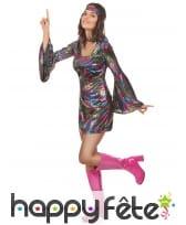 Déguisement robe disco courte et colorée, image 1