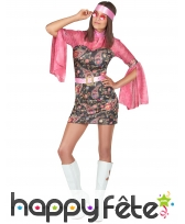 Déguisement robe disco courte, motifs rose, image 1
