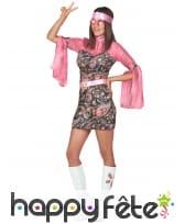 Déguisement robe disco courte, motifs rose, image 2