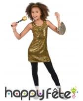 Déguisement robe disco dorée pour enfant