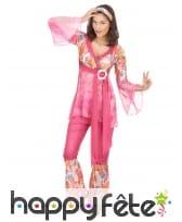 Déguisement rose fleuri de hippie pour femme, image 1