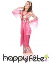 Déguisement rose fleuri de hippie pour femme, image 2