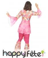 Déguisement rose fleuri de hippie pour femme, image 3