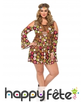 Déguisement robe hippie fleurie grande taille