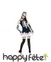 Déguisement robe imprimé squelette pour femme