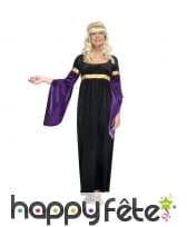 Déguisement robe médiévale noire et violette