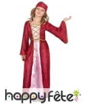 Déguisement robe médiévale rose pour fille