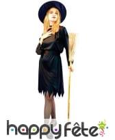Déguisement robe noire unie mi-courte de sorcière