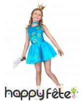 Déguisement robe paon bleue pour enfant