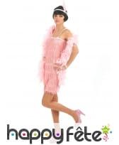Déguisement robe rose charleston à franges, image 1