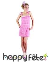 Déguisement robe rose charleston à franges, image 3
