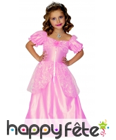 Déguisement robe rose unie de petite princesse