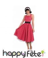 Déguisement robe rouge à pois années 50