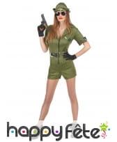 Déguisement shorty court de femme militaire