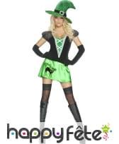 Déguisement sexy de sorcière vert