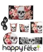 Décoration skull fleuri pour table