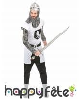 Déguisement tunique de chevalier médiéval blanc, image 1