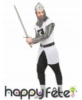 Déguisement tunique de chevalier médiéval blanc, image 2