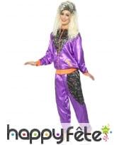 Déguisement training rétro violet brillant, femme, image 1