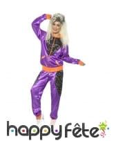 Déguisement training rétro violet brillant, femme