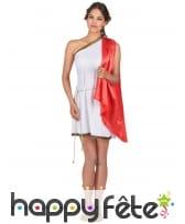 Déguisement tunique romaine blanche, cape rouge, image 1