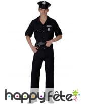 Déguisement uniforme de police noir pour adulte