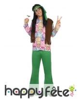 Déguisement vert coloré de hippie pour homme