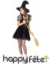 Déguisement vert et noir court de sorcière, image 3