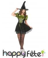 Déguisement vert et noir court de sorcière