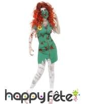 Déguisement vert infirmière zombie