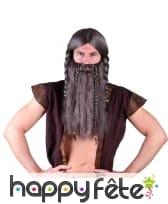 Ensemble Barbe perruque grise de viking