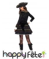 Elegant costume de capitaine femme pirate or noir, image 1