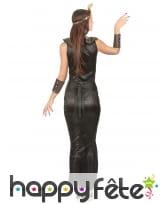 Elegant costume noir et doré de reine egyptienne, image 2