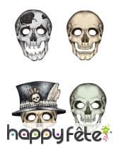 Ensemble de 4 Masques squelette en carton
