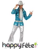 Ensemble disco bleu brillant pour homme