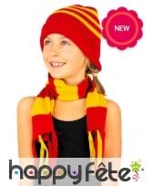 Echarpe et bonnet rouge et jaune ligné, image 1
