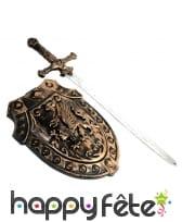 Epée et bouclier bronze moyen âge pour enfant