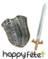 Epée et bouclier de chevalier médiéval pour enfant