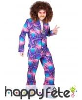 Ensemble hippie psychédélique violet pour homme